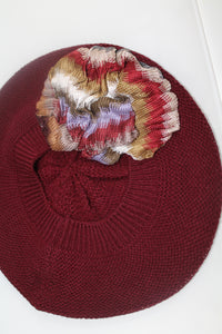 Wine Beret with Gold Maroon and Purple Pattern Flower