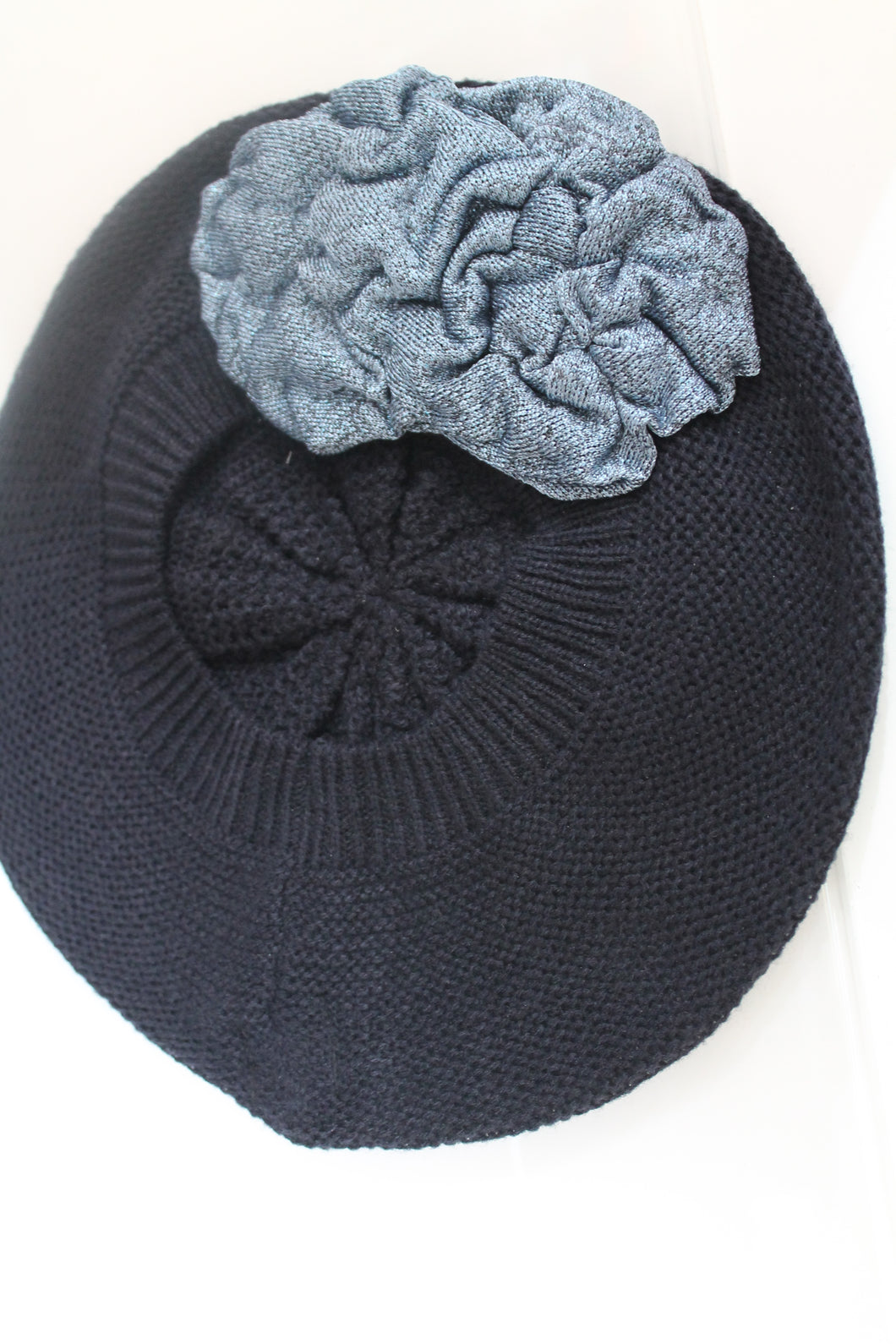 Navy Beret with Blue Shiny Flower