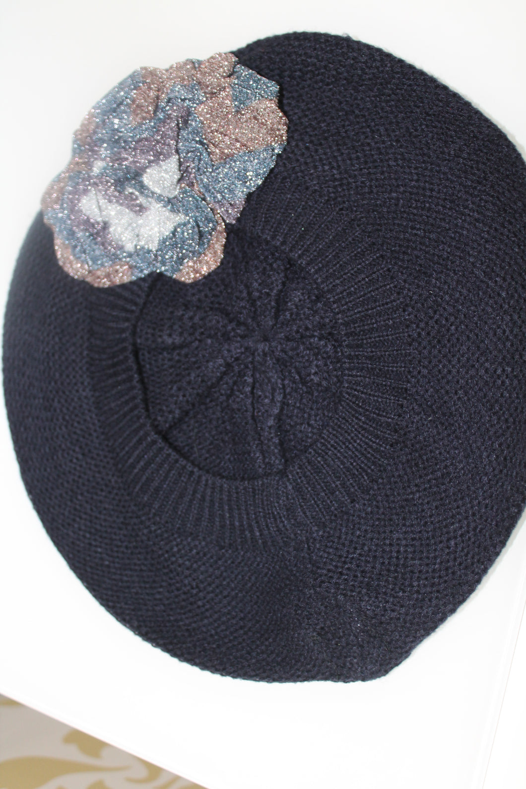 Navy Beret with Brown and Blue Shiny Flower