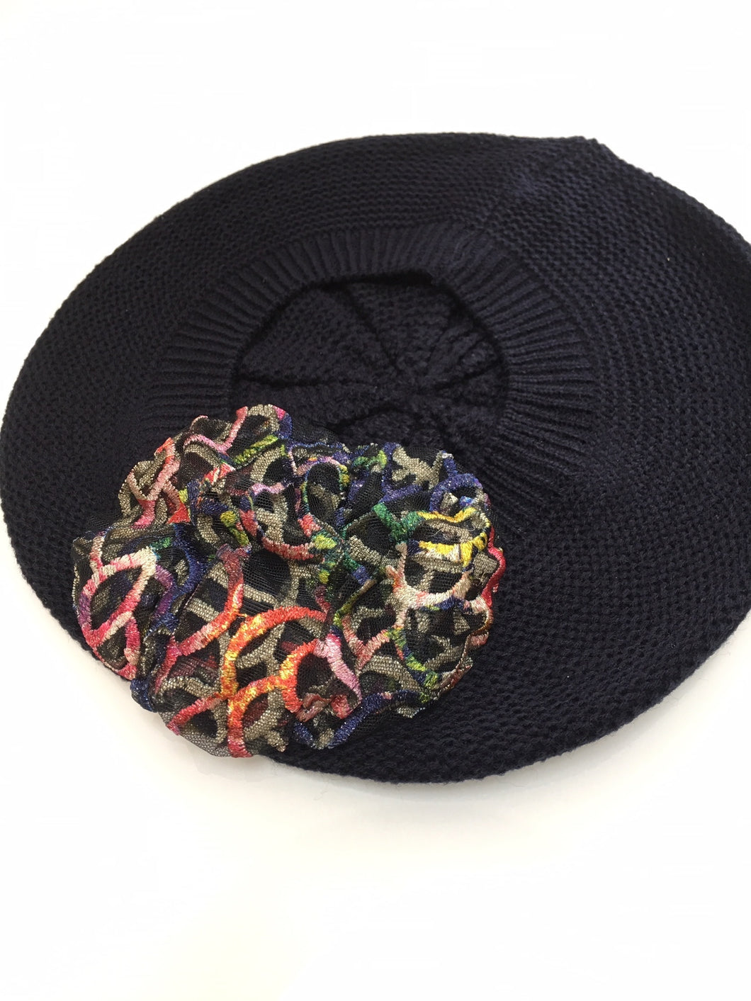 Navy Beret with Multi Color Lace Flower