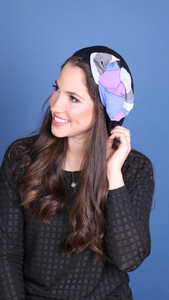 Navy Beret with Purple Pucci Juilio Graphic Print