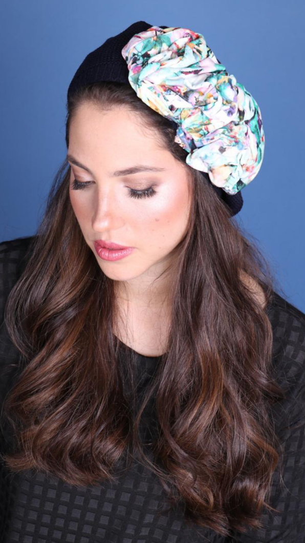 Cotton Navy Beret with Summer Flowers