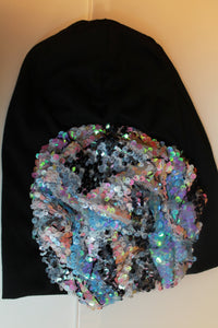 Black Beanie with Pastel Sequins