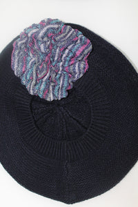 Navy Beret with Pink and Blue Shiny Flower