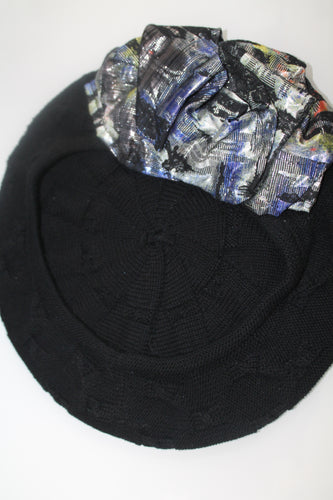 Black Beret with Graphic Shiny Print