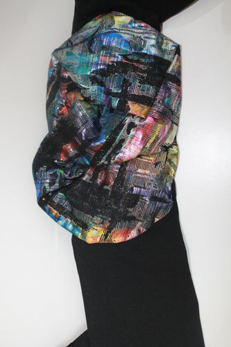 Black Scarf with Multi Print