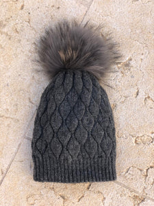 Grey Cable Knit Beanie with Pompom