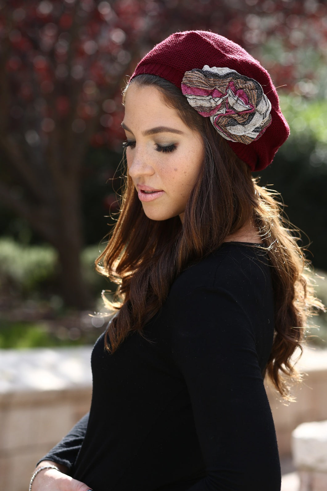 Wine Beret with Flower