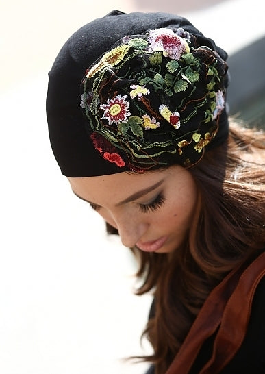 Black Beanie with Lace Flowers