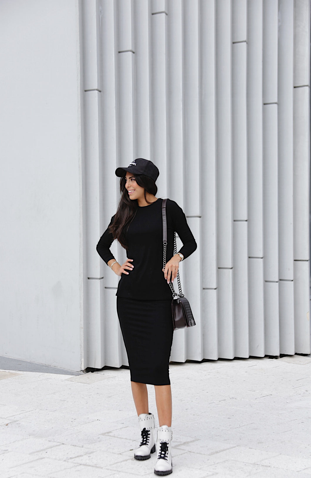 Black Ribbed Pencil Skirt