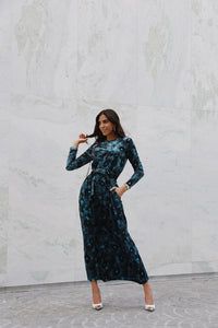 Turquoise Print Maxi with Pockets