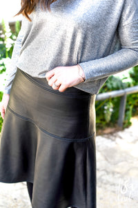 Matte Black Leather Fit & Flare Skirt
