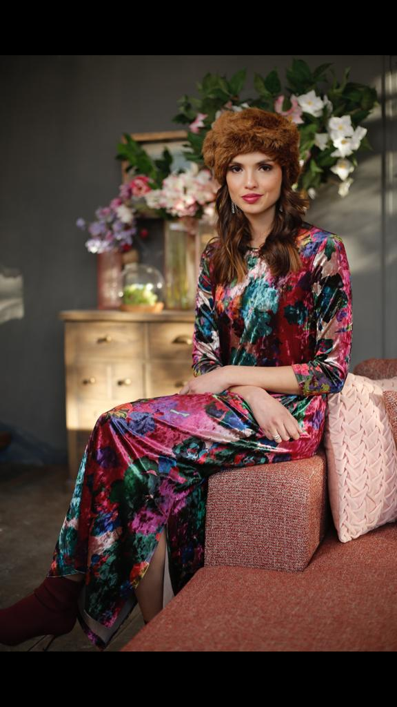 Fuschia Print Maxi with Pockets