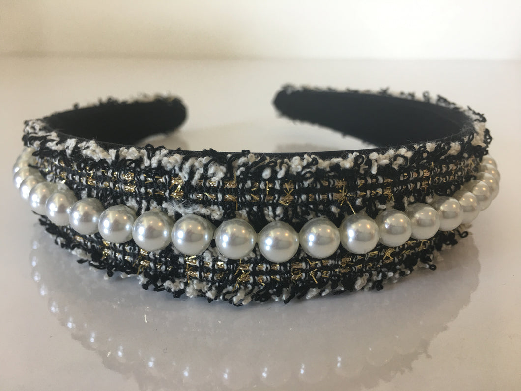 Black & White Tweed Headband with Pearls