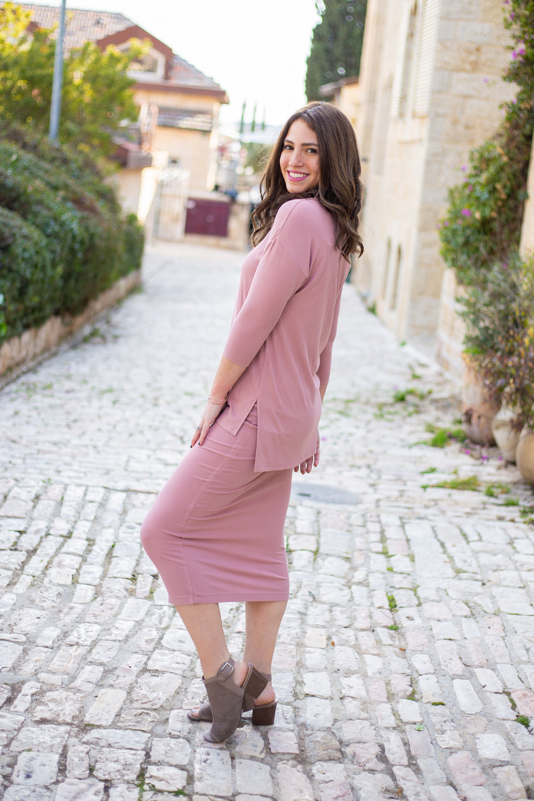 Blush Ribbed Pencil Skirt