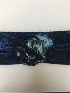 Navy Blue Headband with Flower