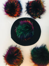 Load image into Gallery viewer, Black Beret w/ Multi Color Pom Pom