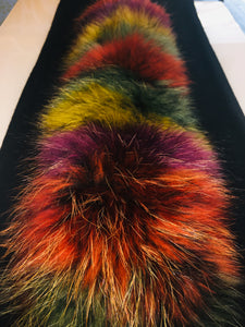 Multi Color Fur Scarf ( Black Cashmere )