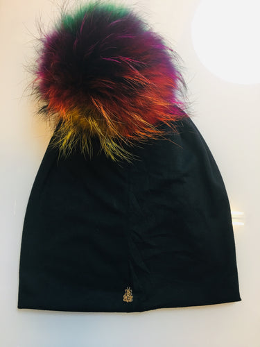 Black Beanie with Multi Color Pom Pom