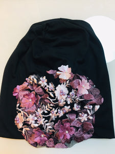 Black beanie with Embroidered Flower