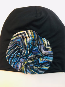 Blue chevron Flower Beanie