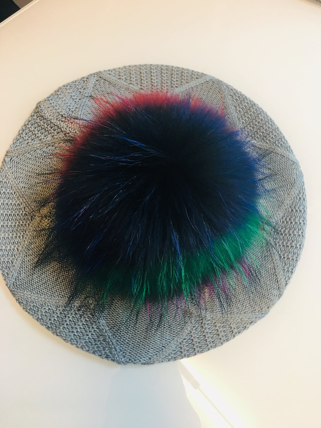 Grey/Silver  Beret/ Hat with Multi Color Pom Pom