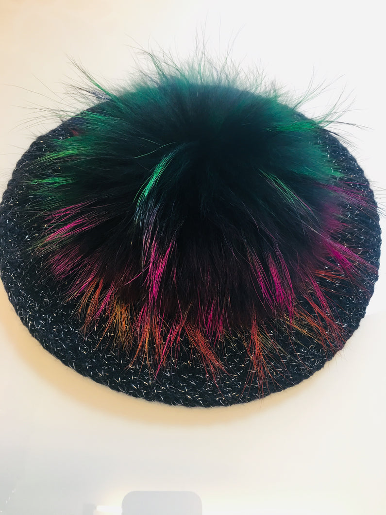 Blue Shiny Beret/ Hat with Multi Color Pom Pom