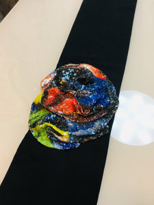 Soft Black Headband with Multi color Sequin Flower