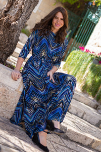 Blue Chevron Maxi Dress