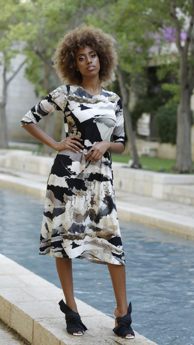 Black & White Water Color Swing Dress