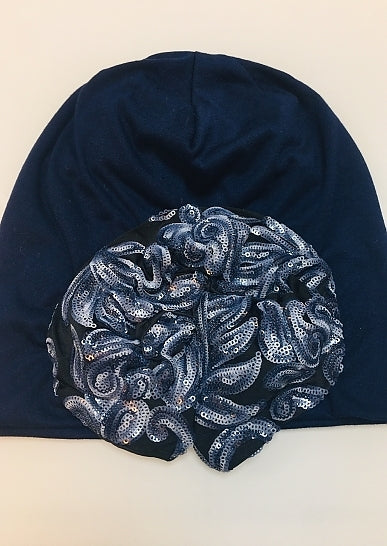 Navy Beanie - Blue Sequin Flowers