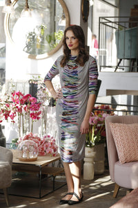 Water Color Cowl Neck Stretch Dress