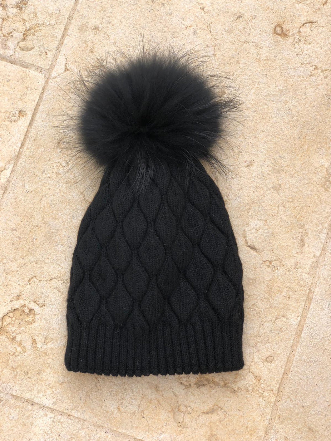 Black Cable Knit Beanie with Pompom
