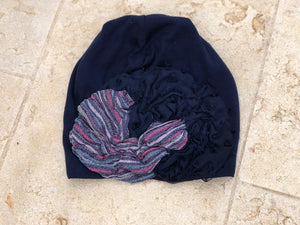 Navy Beanie with Metallic Flower