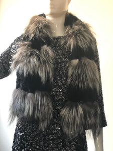 Black & Grey Fur Scarf