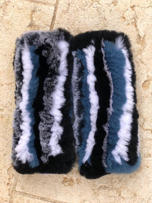 Striped Fur Fingerless Gloves