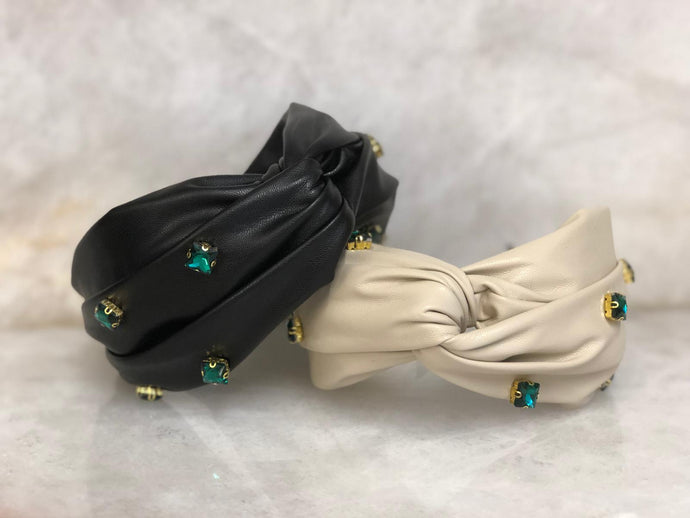 Turban Headband with Emeralds