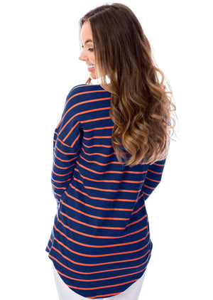 Navy + Orange | Long Sleeve Tee