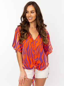 The Tie Front V-Neck | Orange + Purple