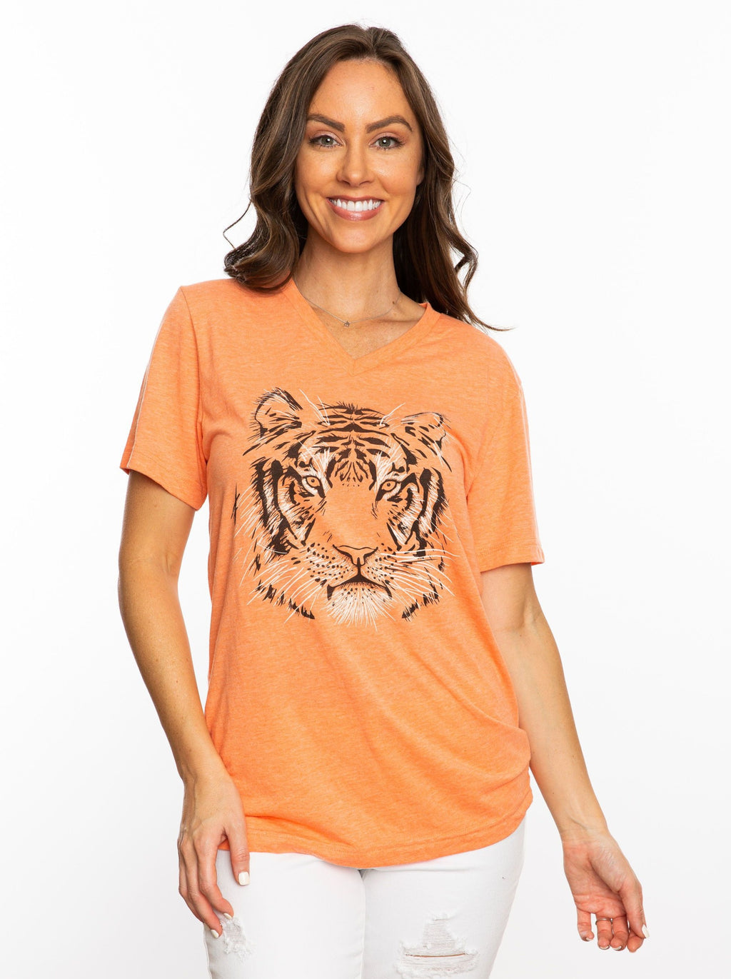The Tiger Head V-Neck | Orange