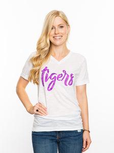 The Tigers Snakeskin V-Neck | Purple