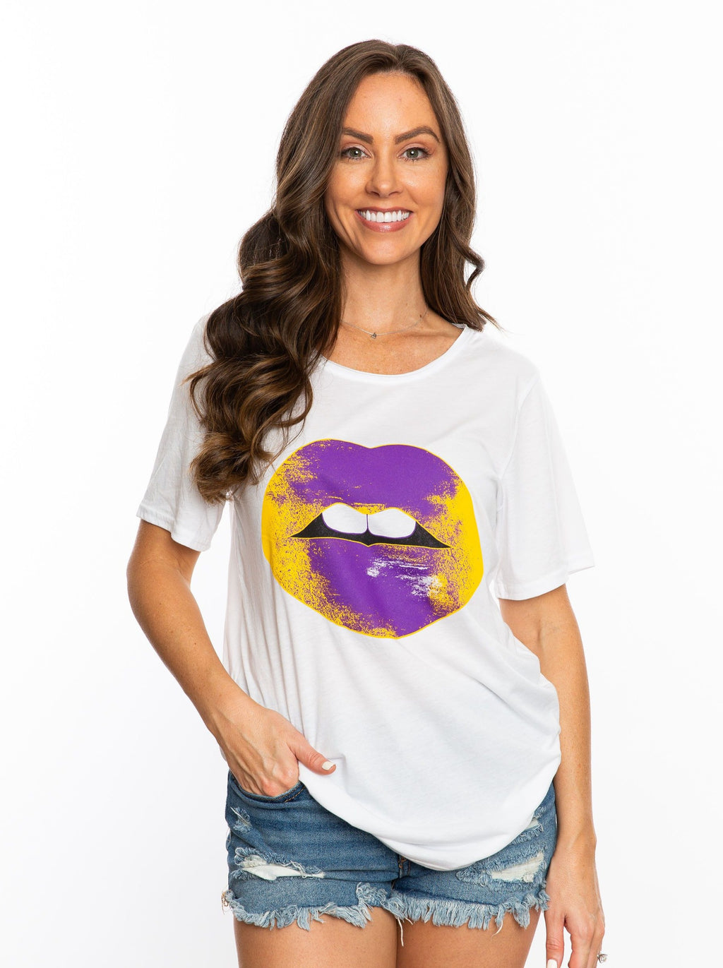 The Lips Tee | Purple + Gold