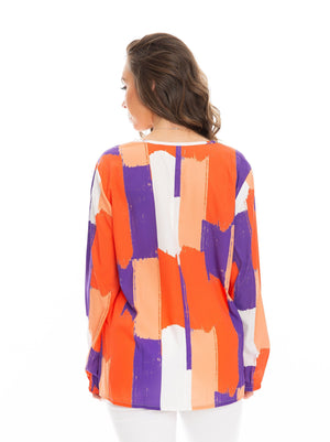 The Brush Stripes Long Sleeve Blouse