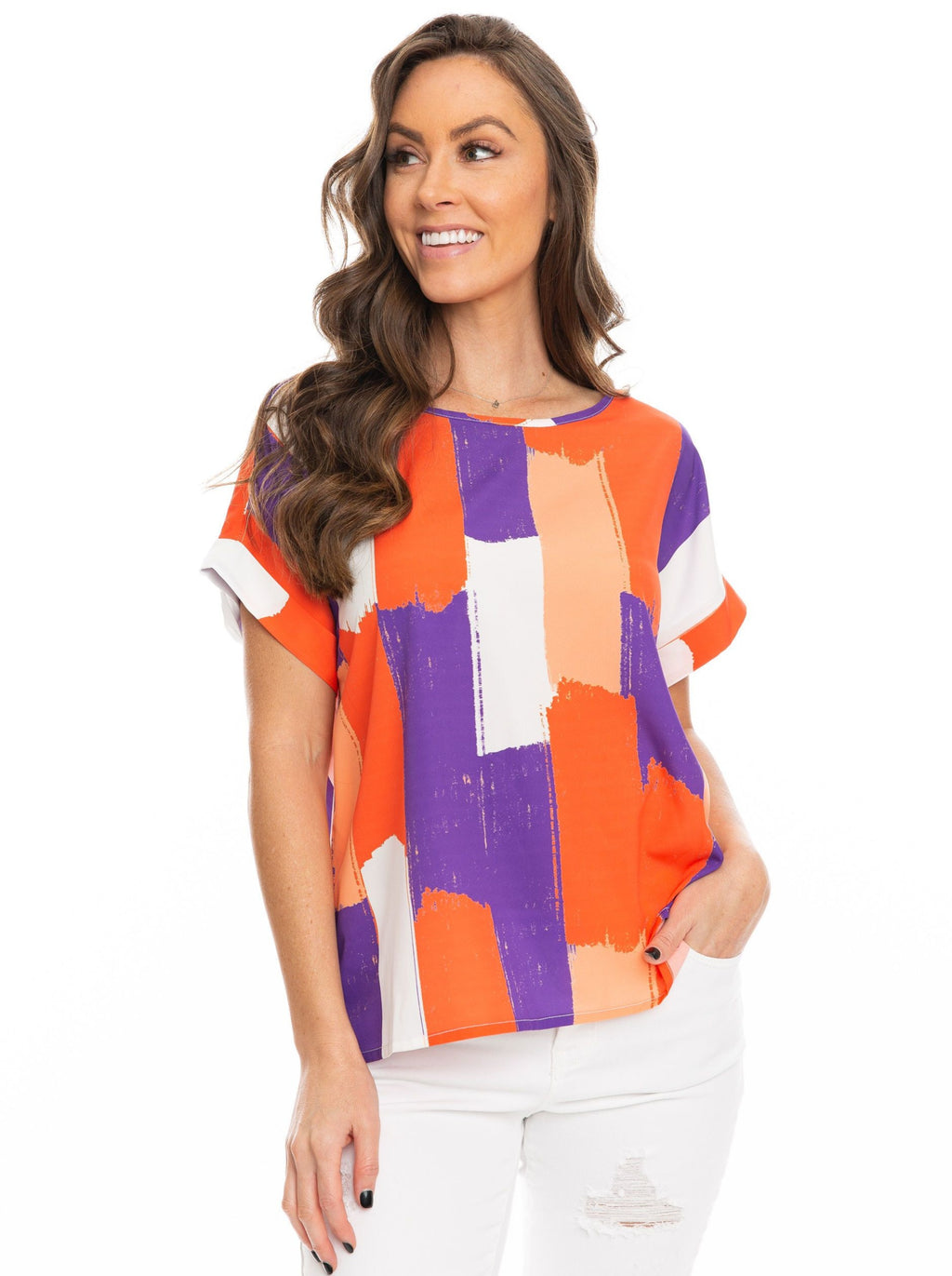The Rolled Cuff Blouse | Orange + Purple