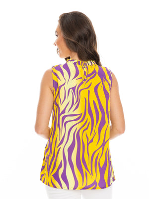 The Tiger Stripe Ruffle Tank | Purple + Gold