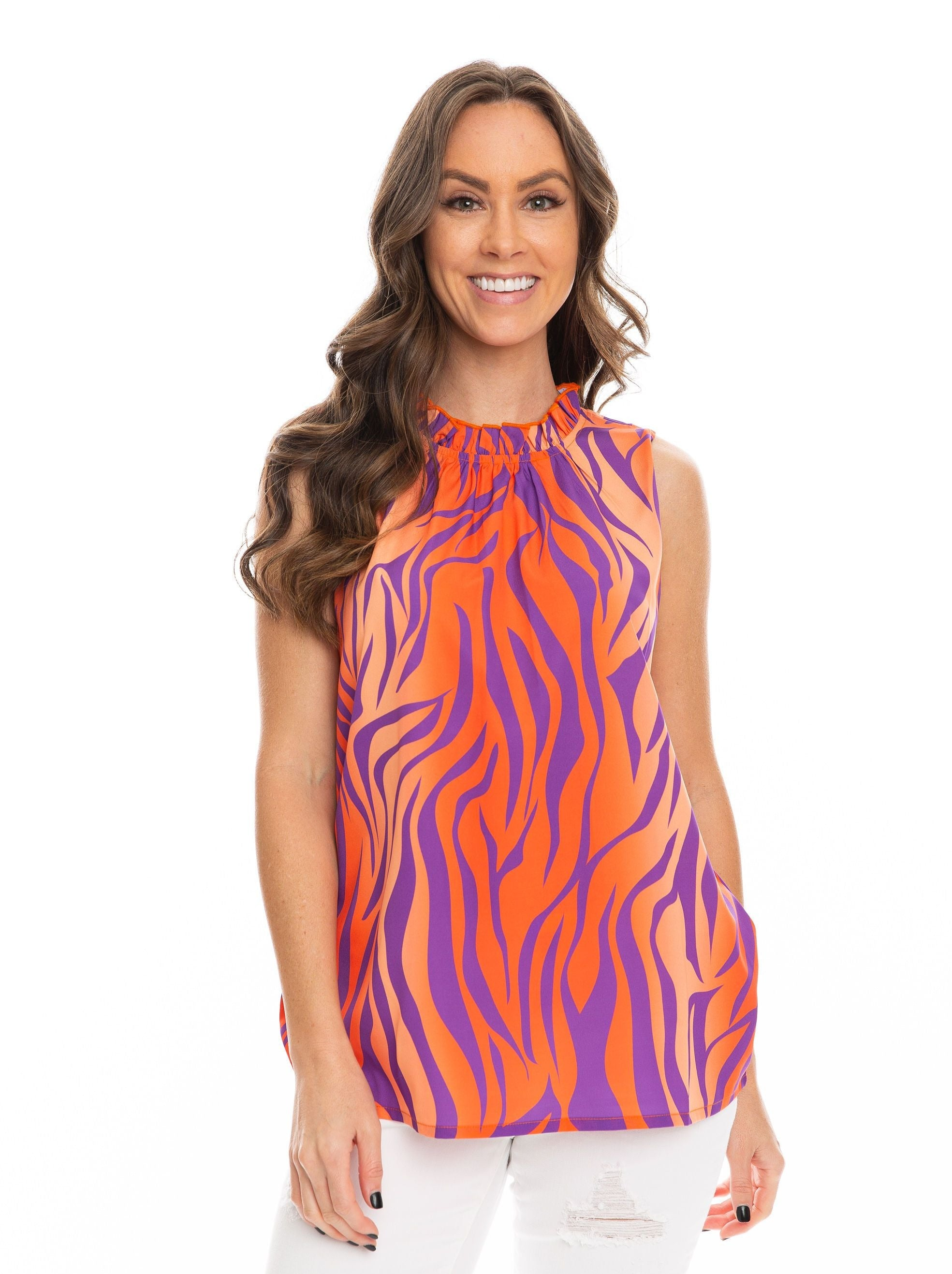 The Tiger Stripe Ruffle Tank | Orange + Purple