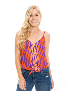 The Tie Front Crop | Orange + Purple