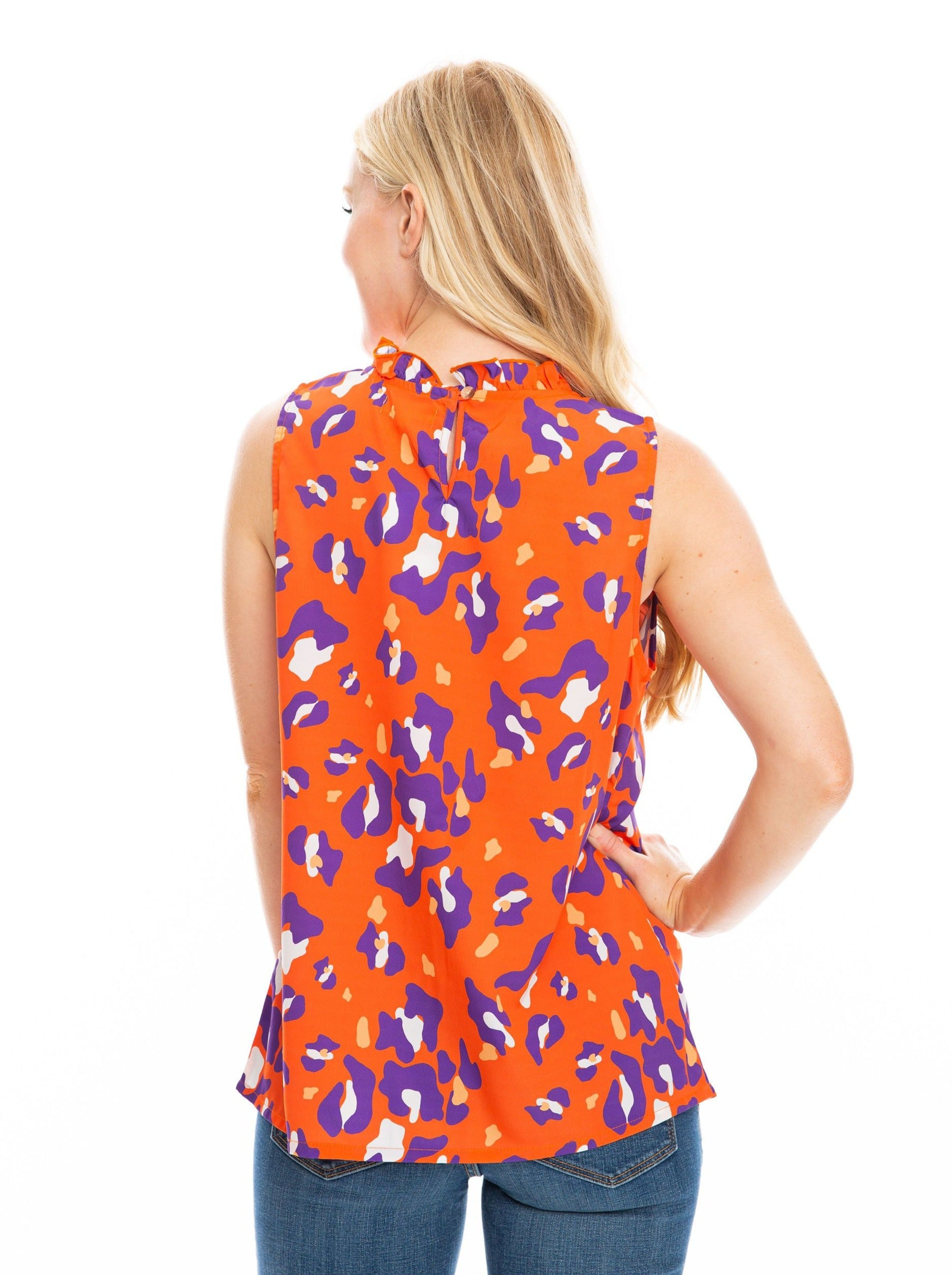 The Cheetah Ruffle Tank | Orange + Purple