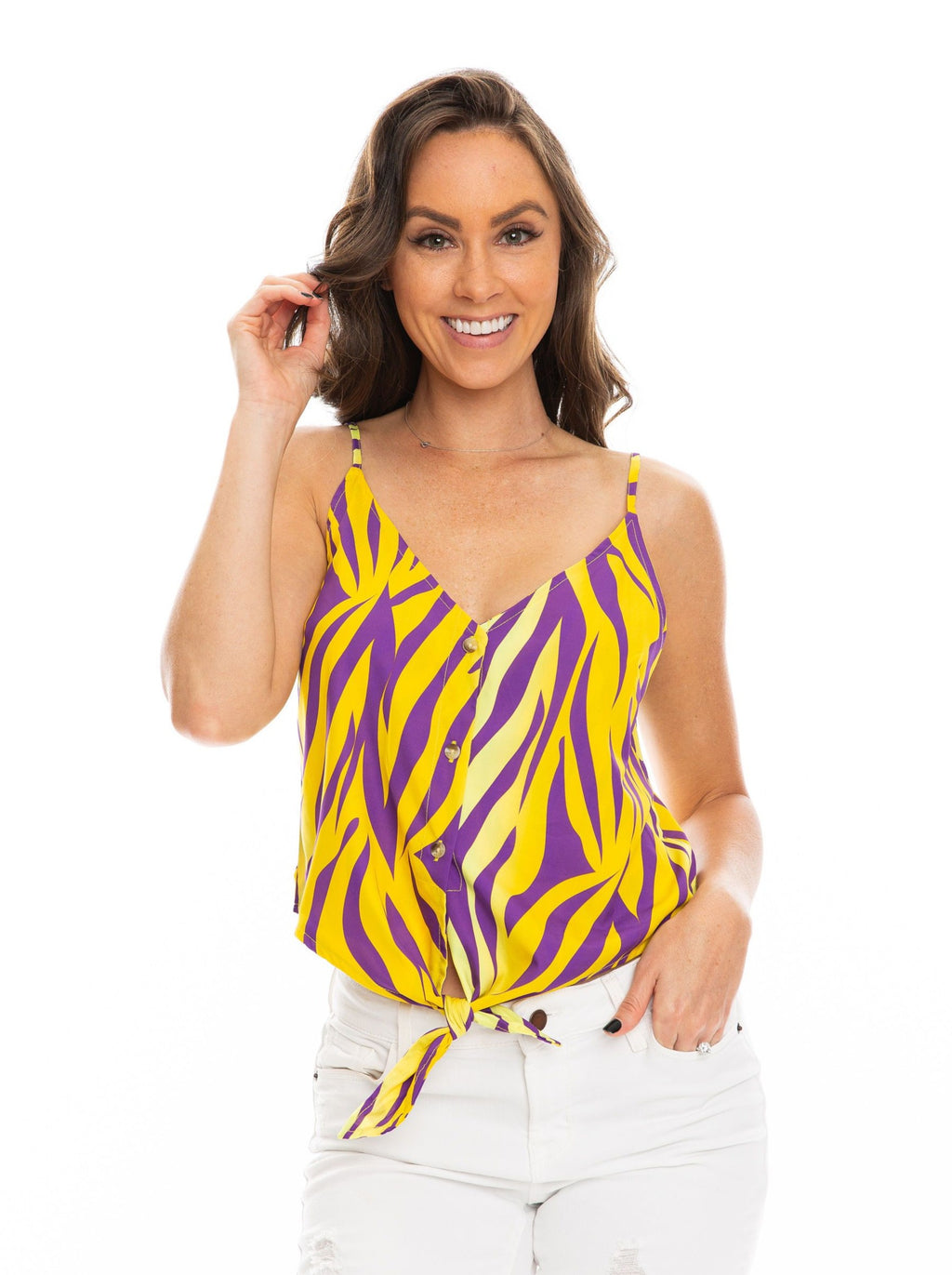 The Tie Front Crop | Purple + Yellow
