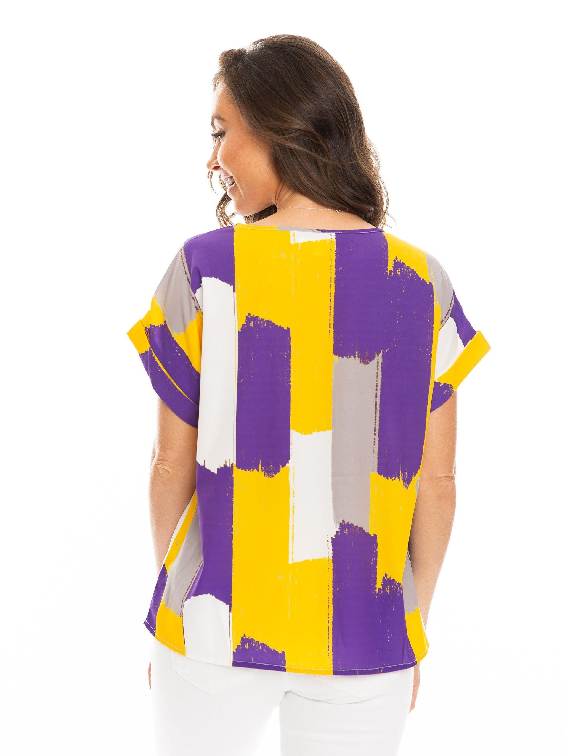 The Rolled Cuff Blouse | Purple + Yellow